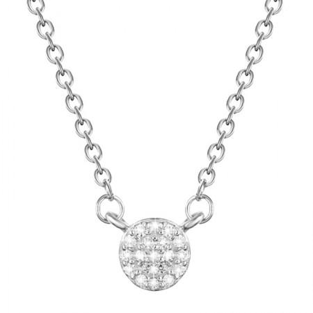 Delikatny naszyjnik wykonany ze srebra 925 z cyrkoniami z małym kółeczkiem