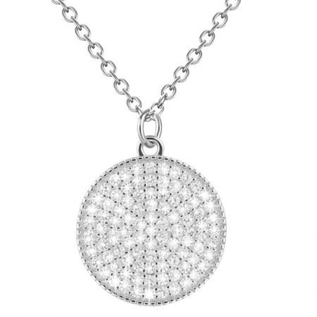 Naszyjnik srebrny z cyrkoniami kółko minimalistyczny wykonany ze srebra 925