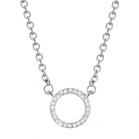 Naszyjnik srebrny kółeczko wysadzane cyrkoniami modna celebrytka wykonana ze srebra 925
