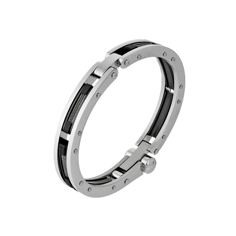 Męska bransoletka ze stali szlachetnej złożona z prostokątnych nitowanych elementów zdobionych w środku stalową linką.