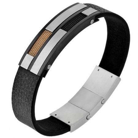 Ciekawa męską bransoleta ze stali szlachetnej z prostokątnym satynowym zdobieniem z wzorem stalowej linki , na czarnym pasku.