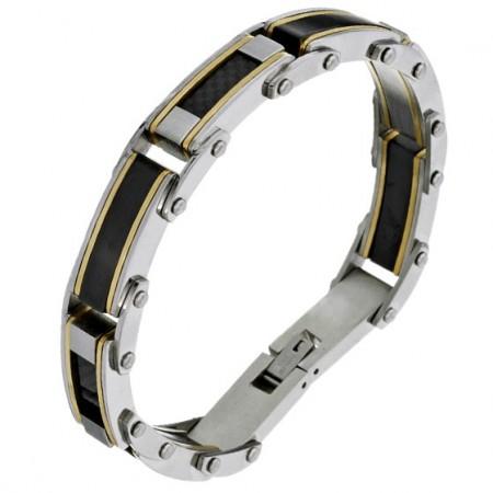 Bransoletka męska ze stali szlachetnej złożona z nitowanych elementów w kolorze srebrnym i czarnym.