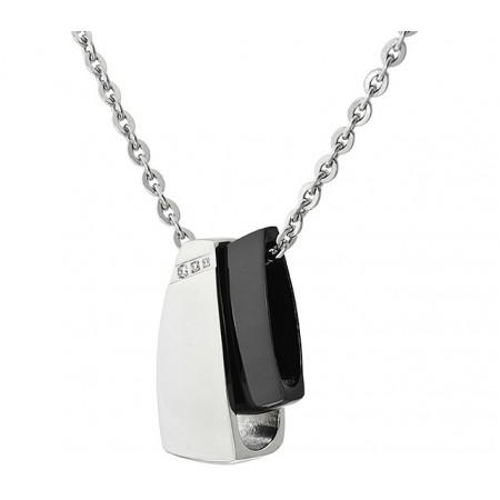 Naszyjnik ze stali szlachetnej z dwiema zawieszkami w nowoczesnej formie lekko prostokątnej w kolorze srebrnym i czarnym.