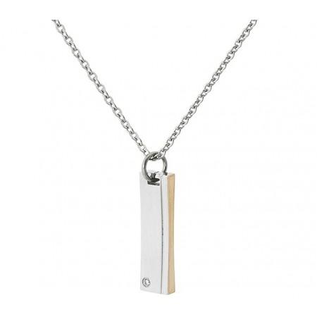 Naszyjnik ze stali szlachetnej z zawieszką w kształcie słupka w srebrnym i miedzianym kolorze oraz cyrkonią.