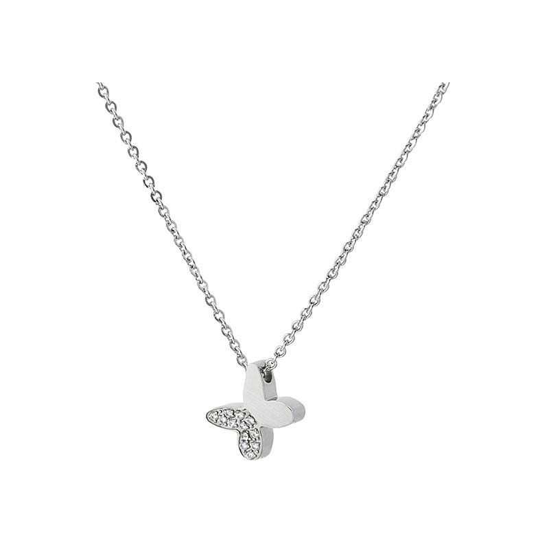 Naszyjnik ze stali szlachetnej z zawieszką w kształcie motylka z cyrkoniami.