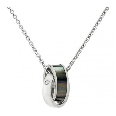 Naszyjnik ze stali szlachetnej z zawieszką w nowoczesnym stylu w kolorze srebrnym i czarnym z cyrkoniami.