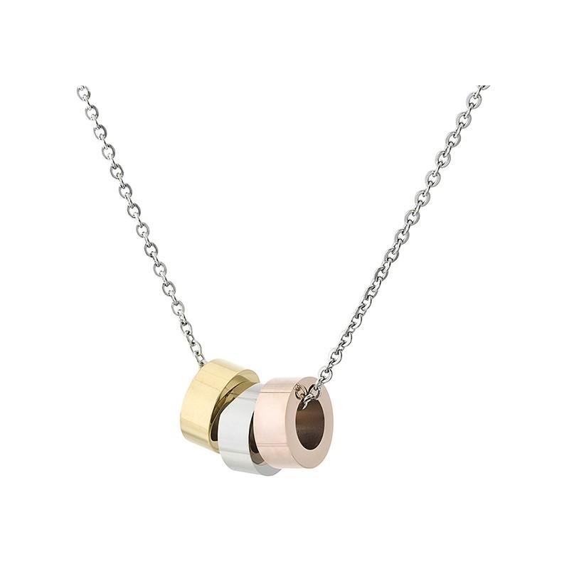 Naszyjnik ze stali szlachetnej z z trzema zawieszkami w formie przekładek w kolorze złotym, srebrnym i miedzianym.