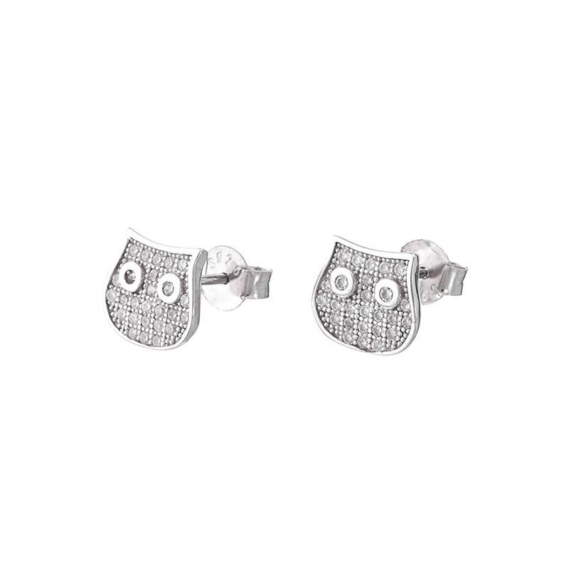 Piękne kolczyki ze srebra próby 925  na sztyft w kształcie kotka z cyrkoniami.