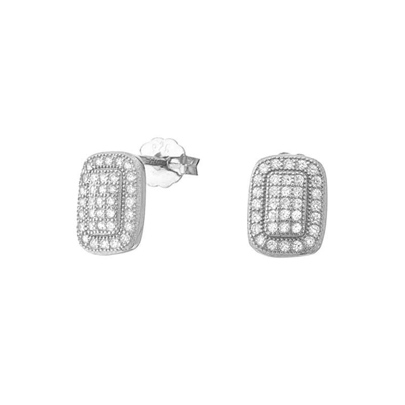 Piękne kolczyki ze srebra próby 925  na sztyft z cyrkoniami o kształcie prostokąta.
