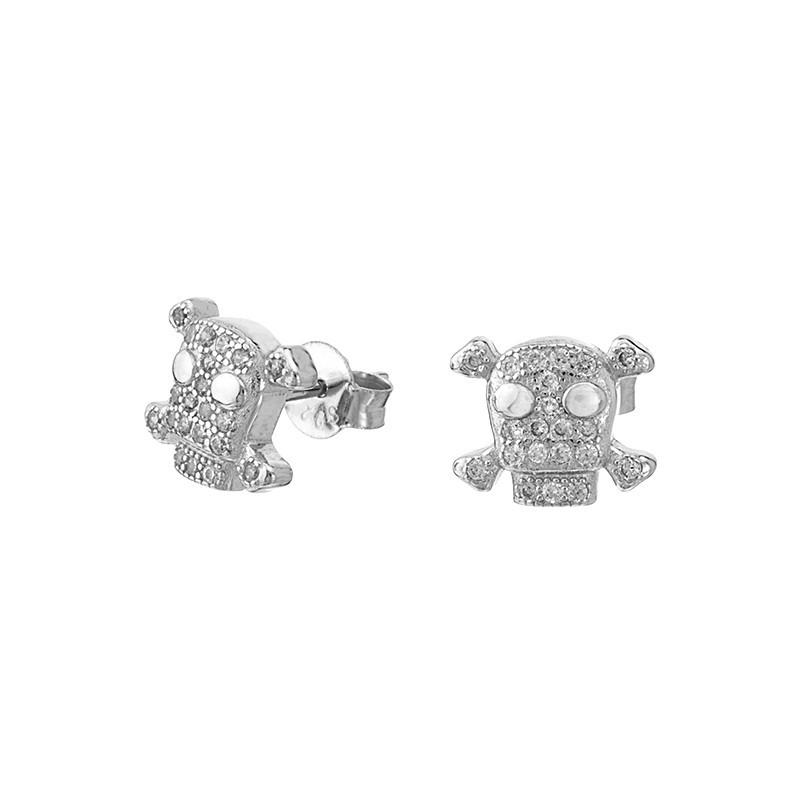 Piękne kolczyki ze srebra próby 925  na sztyft z cyrkoniami o kształcie trupiej czachy.