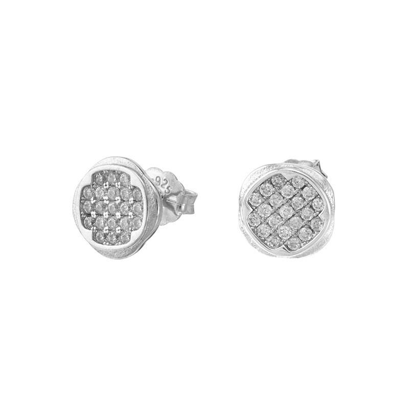 Piękne kolczyki ze srebra próby 925  o zaokrąglonym kształcie na sztyft z cyrkoniami.