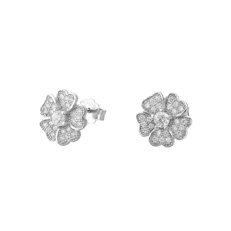 Piękne kolczyki kwiatuszki  ze srebra próby 925 na sztyft z cyrkoniami.