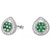 Piękne kolczyki ze srebra próby 925  na sztyft w kształcie łezki z zielonymi cyrkoniami w środku.