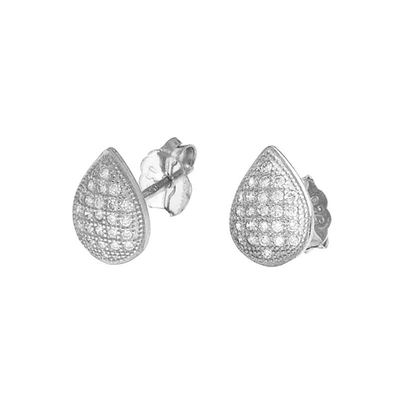 Piękne kolczyki łezki ze srebra próby 925 na sztyft z cyrkoniami.
