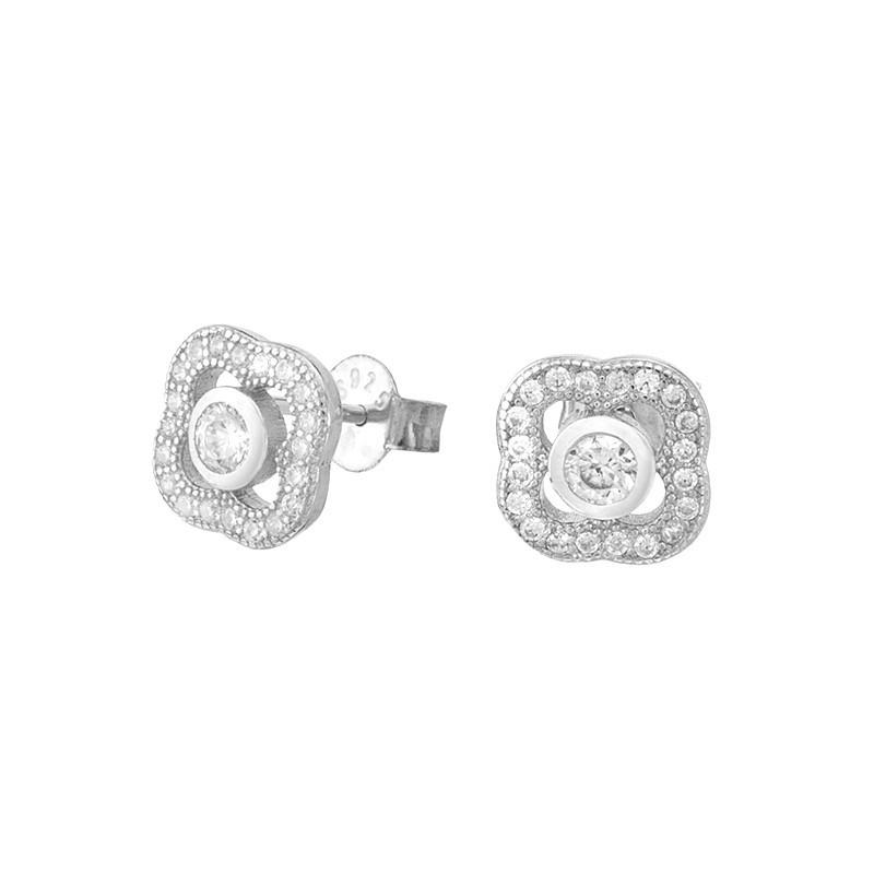 Piękne kolczyki ze srebra próby 925 na sztyft z cyrkoniami małymi z zewnątrz i duża w środku.