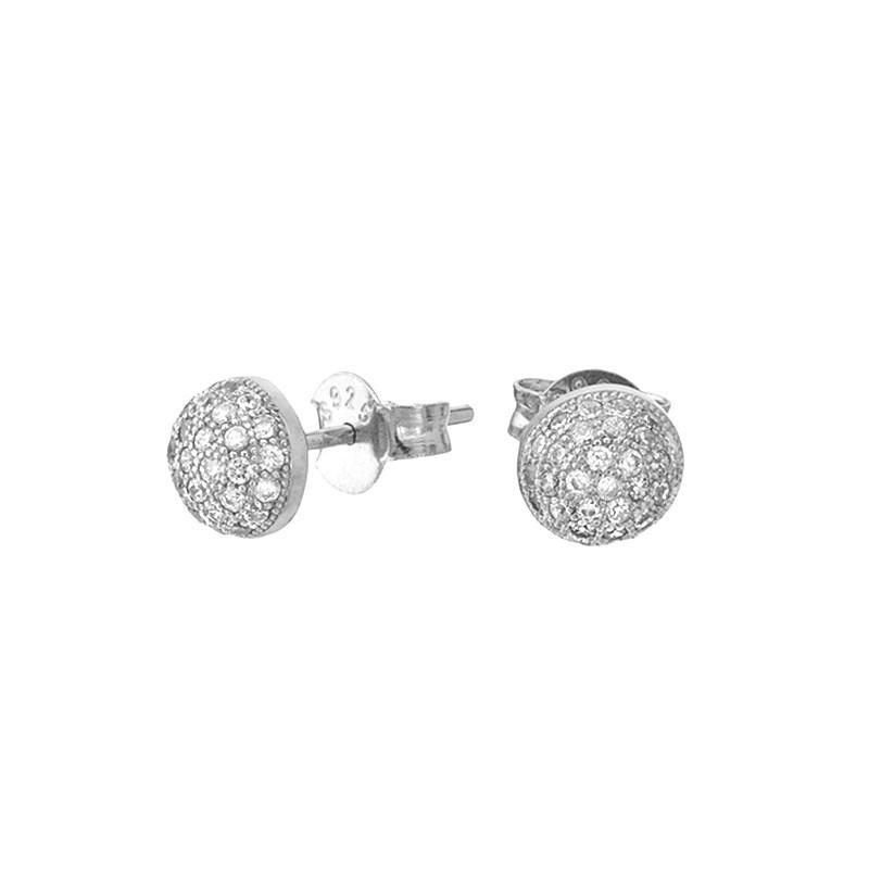 Piękne okrągłe  kolczyki ze srebra próby 925 na sztyft z cyrkoniami.