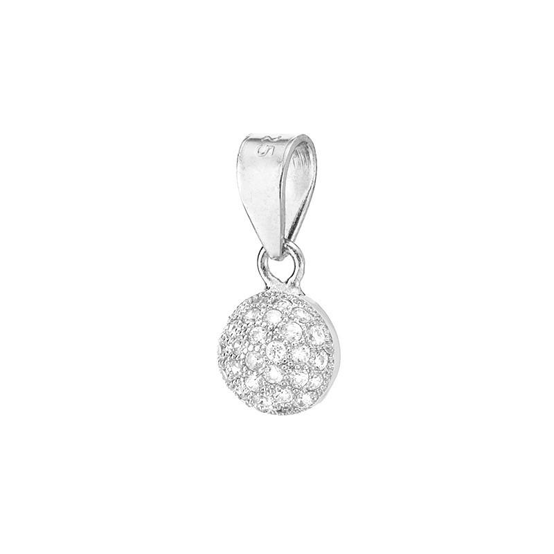 Piękny okrągły wisiorek ze srebra z cyrkoniami.