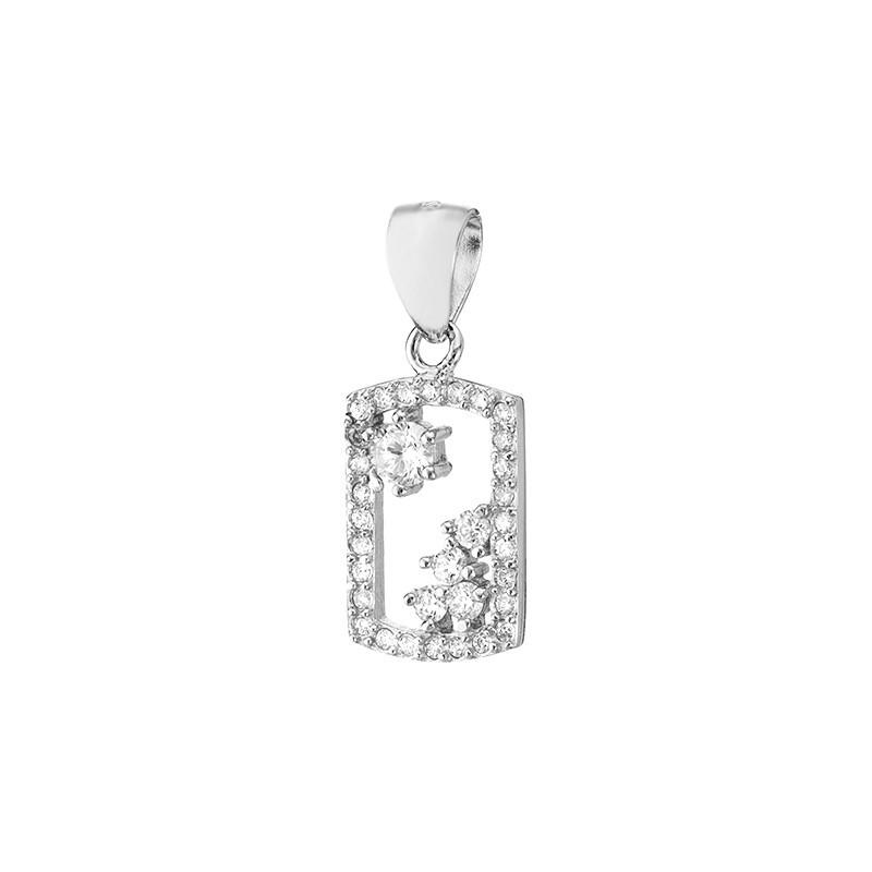 Piękny wisiorek ze srebra 925 w kształcie ramki z cyrkoniami.